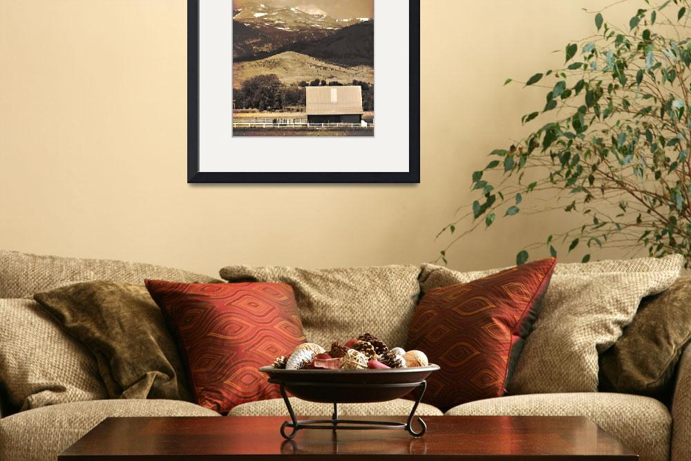 """Barn with a Rocky Mountain View Sepia Photo Print&quot  (2010) by lightningman"