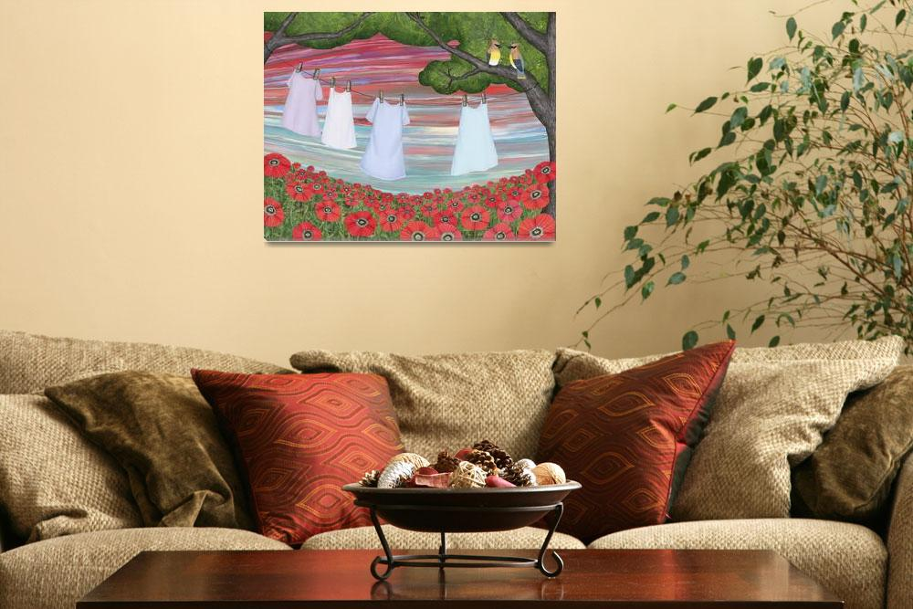 """""""cedar waxwings, poppies, and laundry""""  (2014) by sarahkdesigns"""