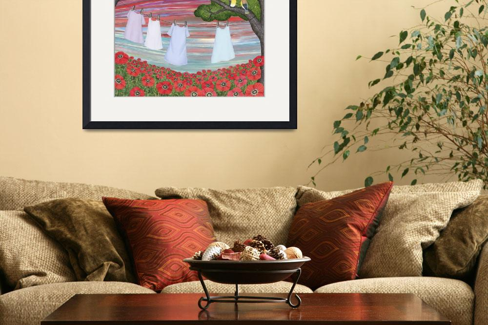"""cedar waxwings, poppies, and laundry&quot  (2014) by sarahkdesigns"