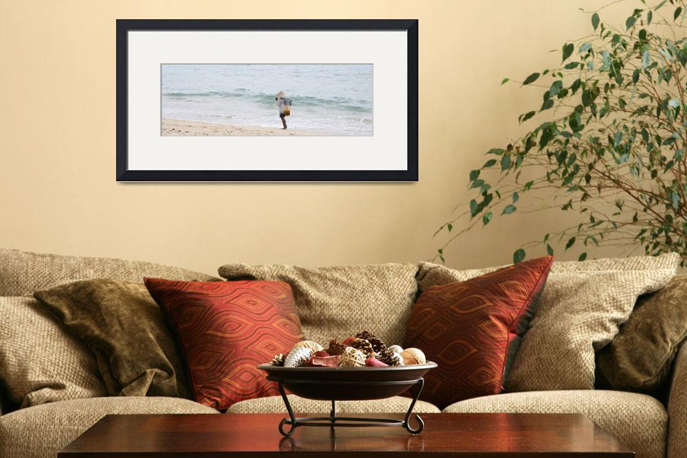 """""""Person Walking On The Beach With A Fishing Net Ba&quot  by DesignPics"""