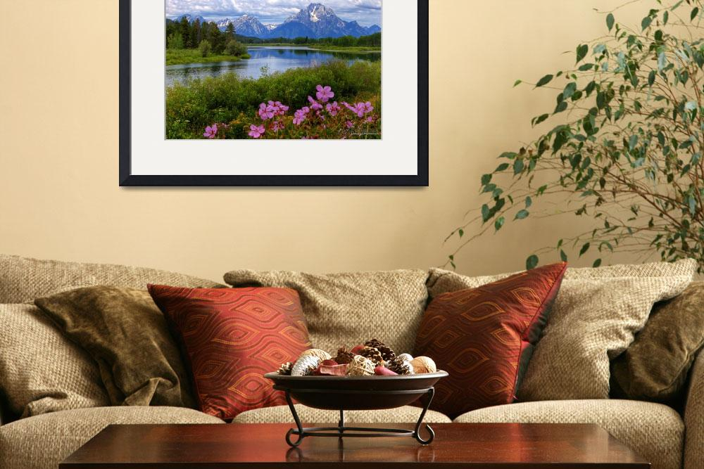 """""""Sticky Geraniums and Mount Moran&quot  by RHMiller"""