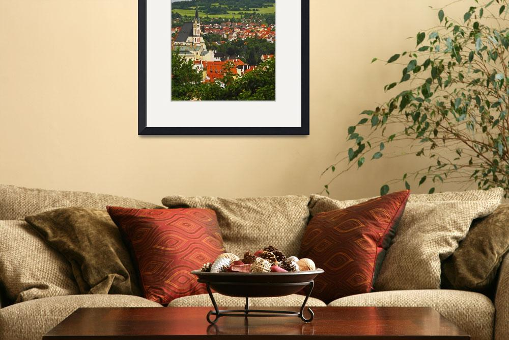 """Church Spire In The Old Town Cesky Krumlov, Jihoc&quot  by DesignPics"