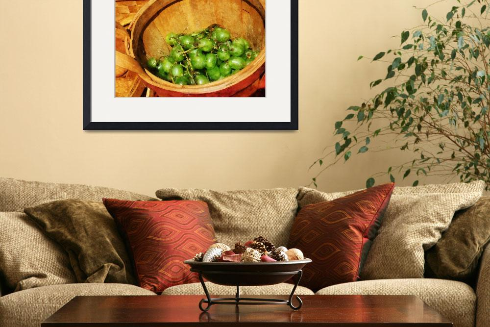 """""""Basket of Green Grapes&quot  (2010) by susansartgallery"""