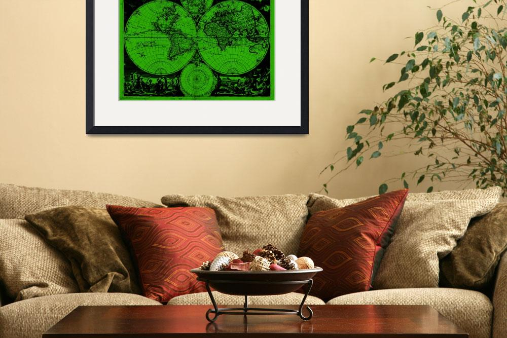 """""""Vintage Map of The World (1685) Black & Green"""" by Alleycatshirts"""