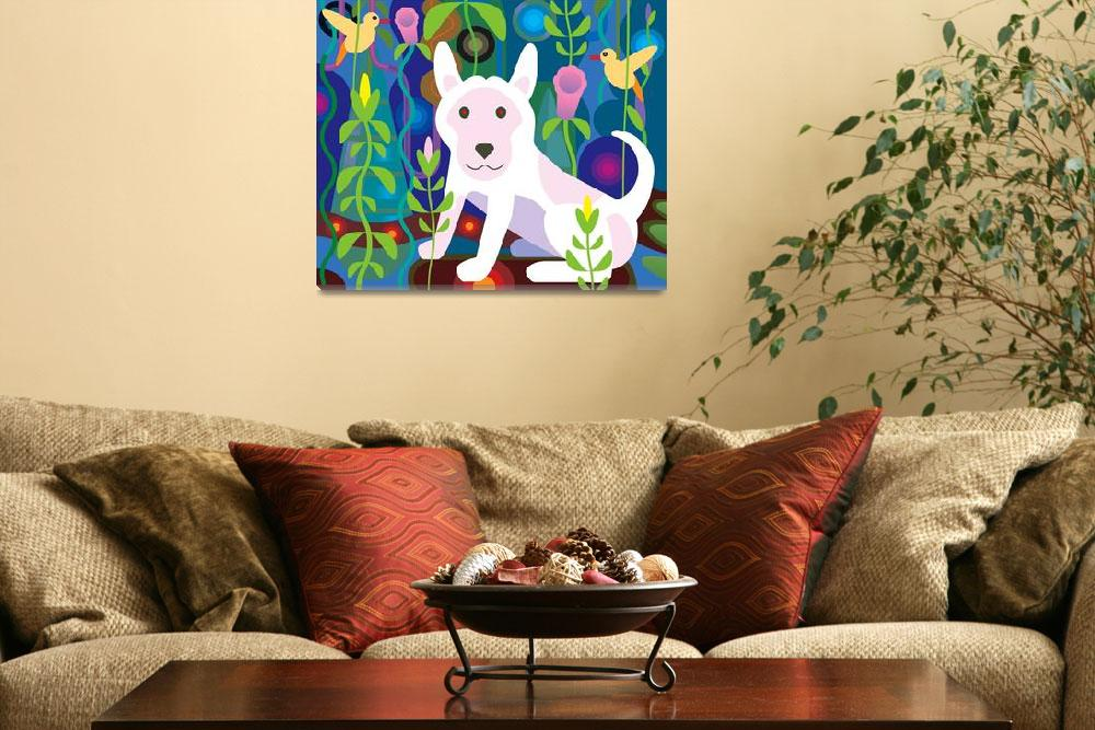 """""""white dog in garden jungle&quot  (2012) by charker"""