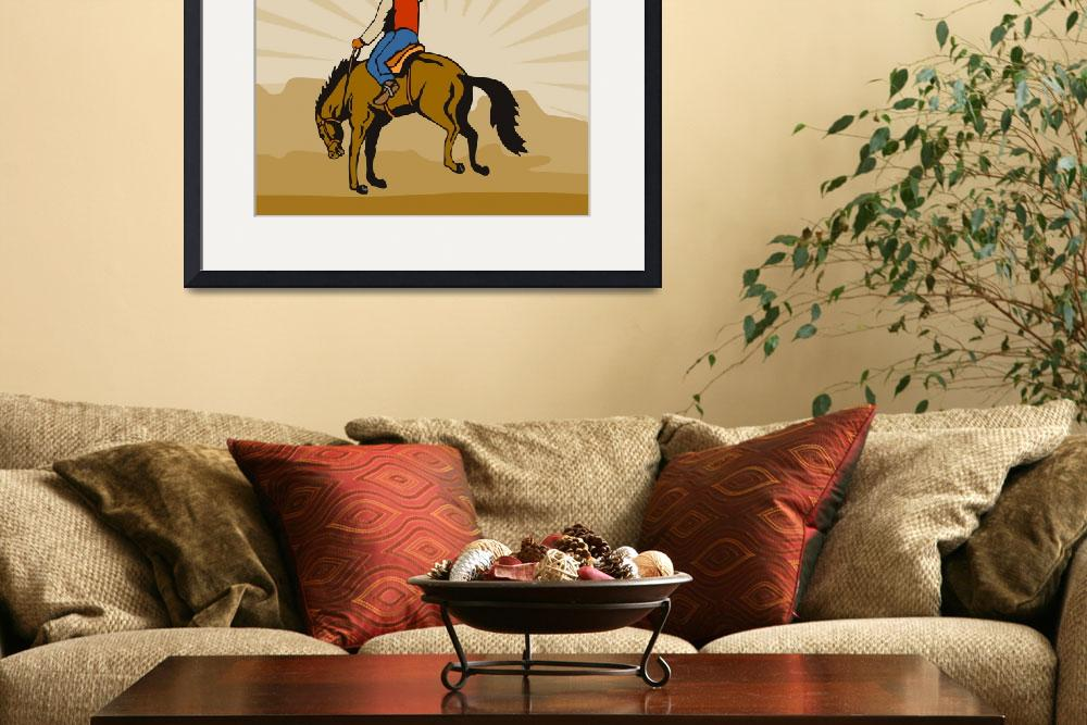 """Rodeo Cowboy Riding Bucking Bronco Horse&quot  (2013) by patrimonio"