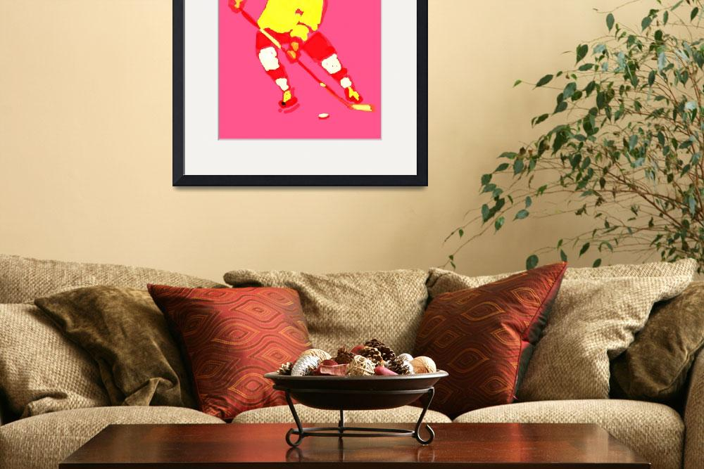 """""""Hockey Left Wing pink yellow red maroon (c)""""  (2014) by edmarion"""