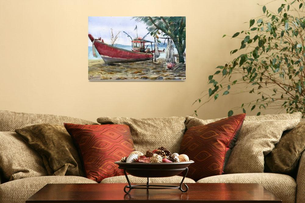 """""""red boat on the sand""""  (2012) by irfa"""