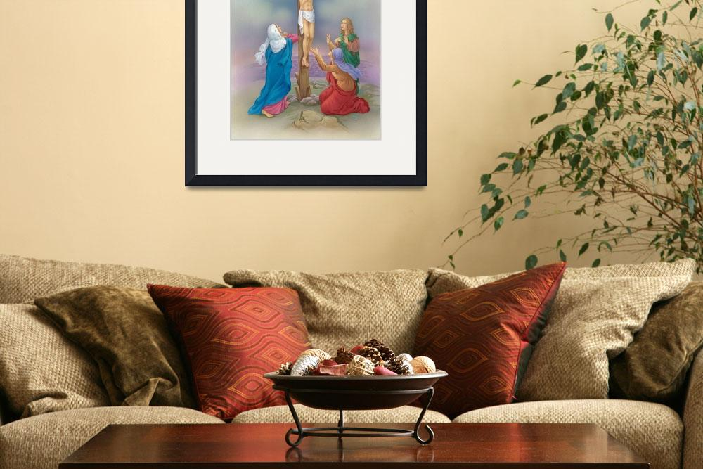 """""""Jesus on the cross, three woman praying at his fee""""  by artlicensing"""