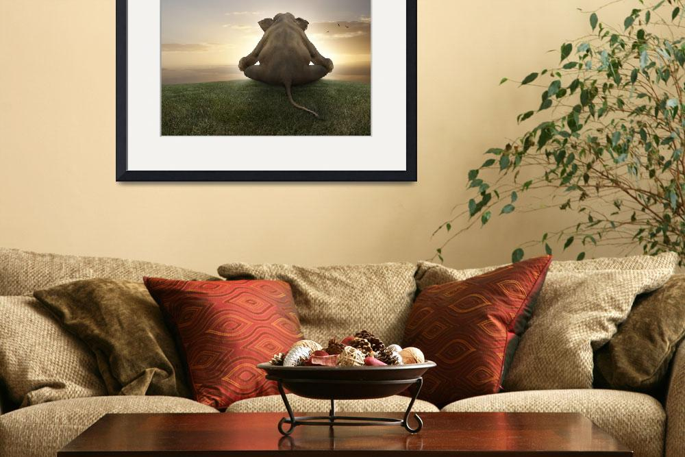 """""""Asian elephant in yoga lotus position meditating""""  (2010) by StephanieDRoeser"""