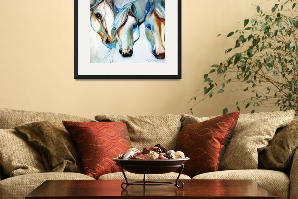 """3 WILD HORSES in ABSTRACT"" (2010) by MBaldwinFineArt2006"