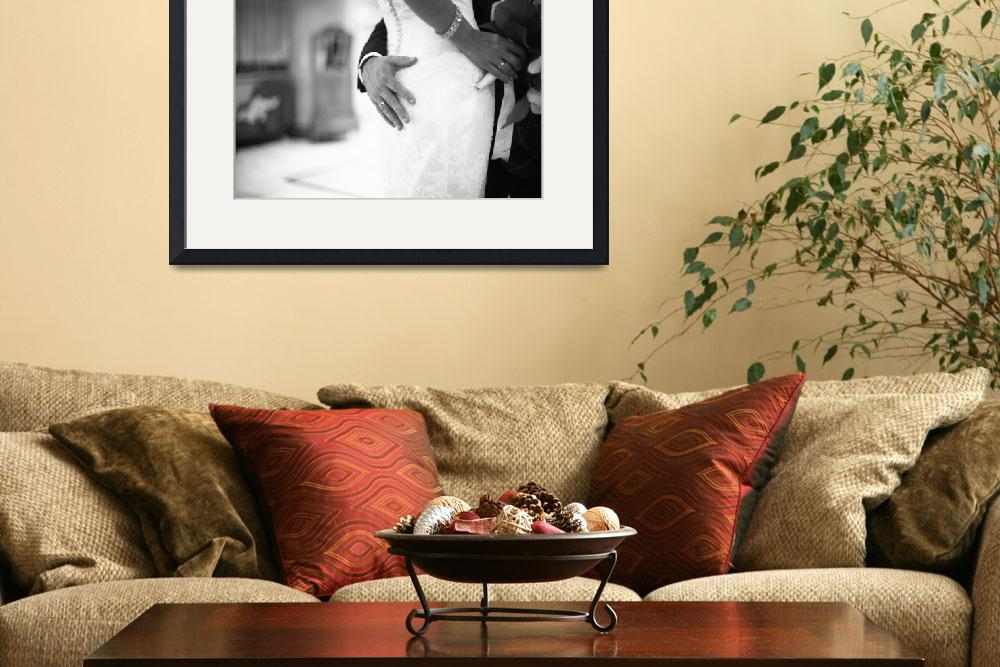 """""""Bride and groom holding black and white wedding ph&quot  (2007) by edwardolive"""
