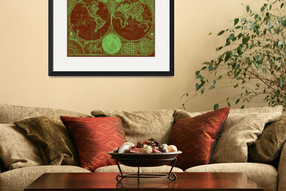 """""""World Map (1794) Red & Light Green&quot  by Alleycatshirts"""
