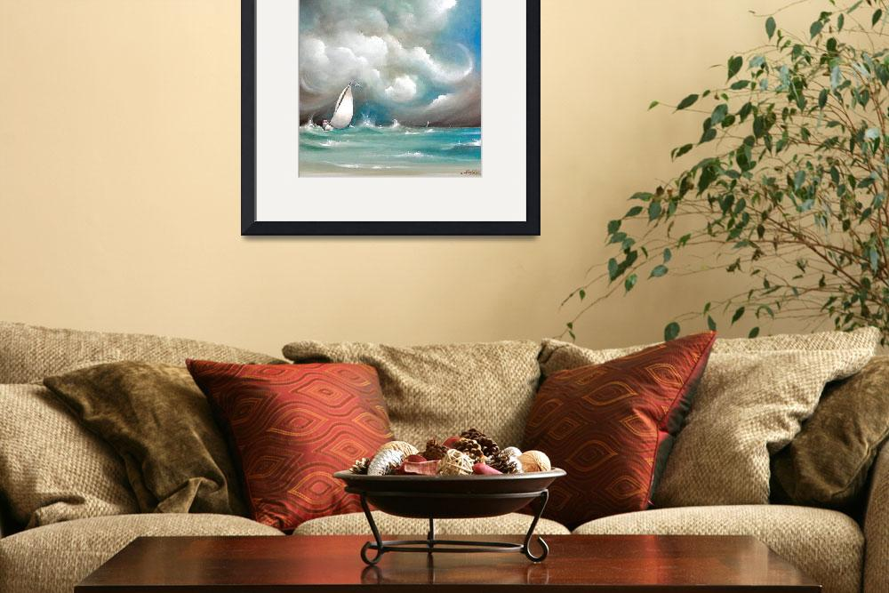 """""""Sailboat in Stormy Sea&quot  (2004) by sgnarts"""