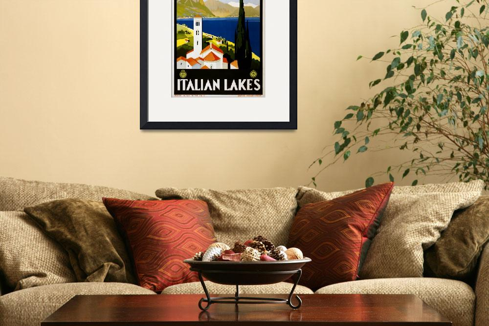 """""""Italian Lakes Vintage Travel Poster&quot  by Alleycatshirts"""