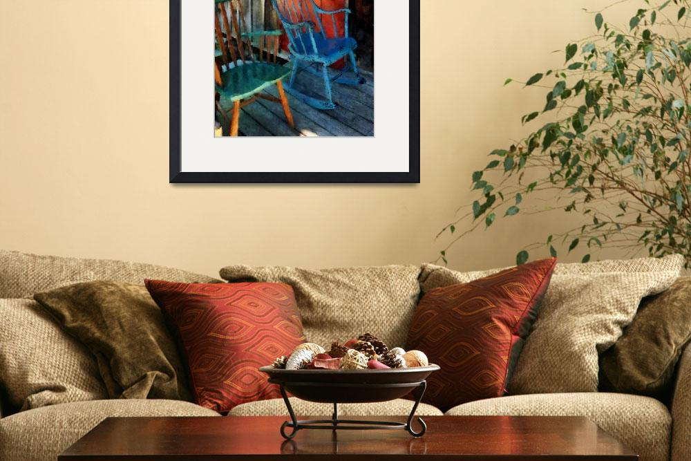 """Blue Chair Against Red Door&quot  by susansartgallery"
