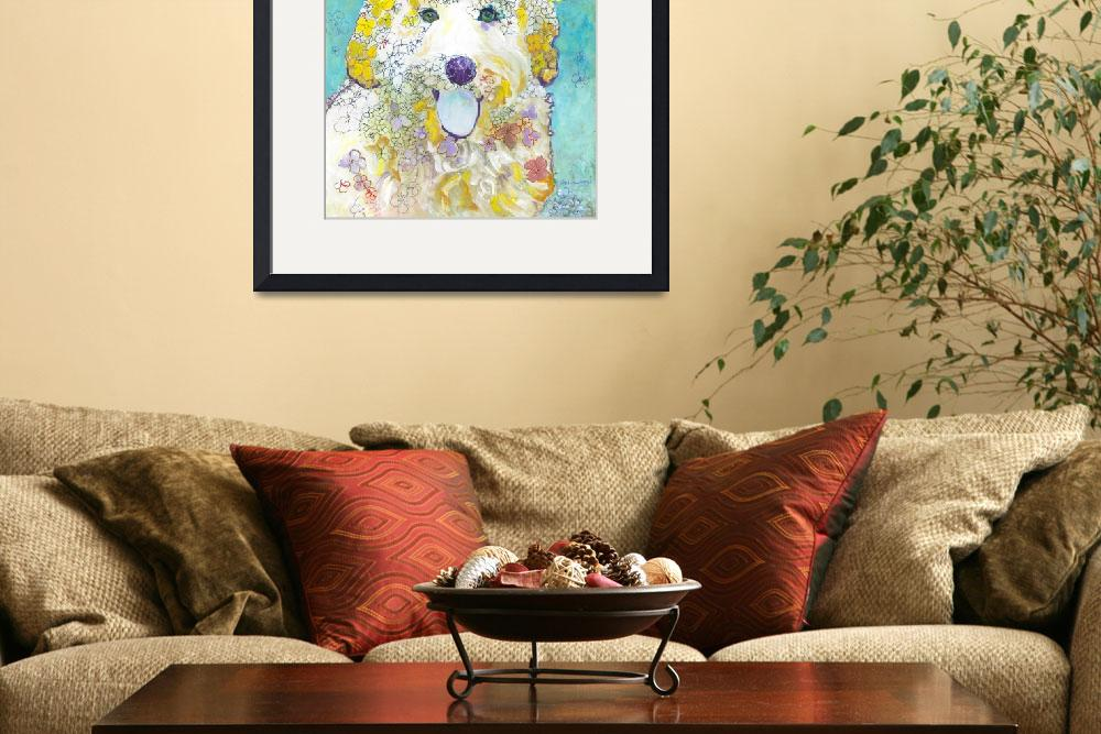 """Velma the  Labradoodle Flower Dog&quot  (2018) by RDRiccoboni"
