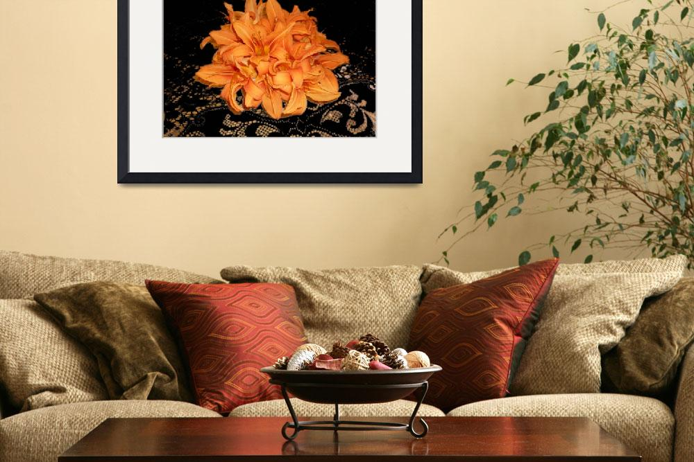 """""""Cluster of Orange Day Lilies on Black Lace""""  (2008) by aparnaphadnis"""