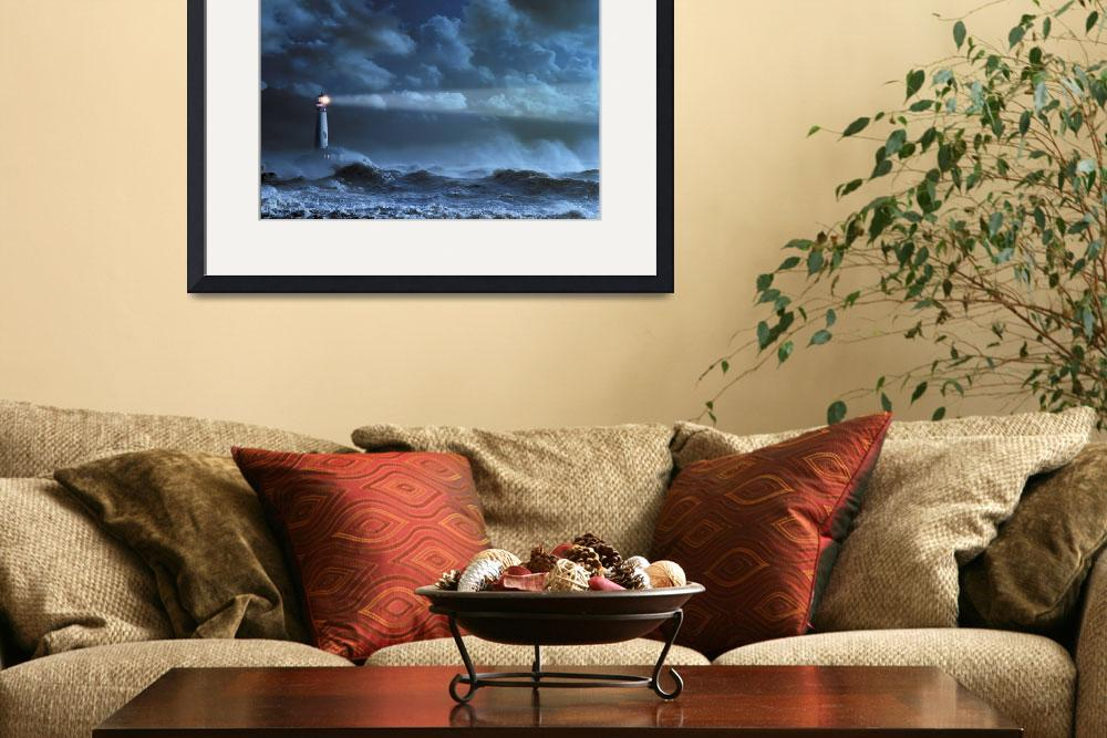 """""""Lighthouse In A Storm&quot  (1990) by johnlund"""