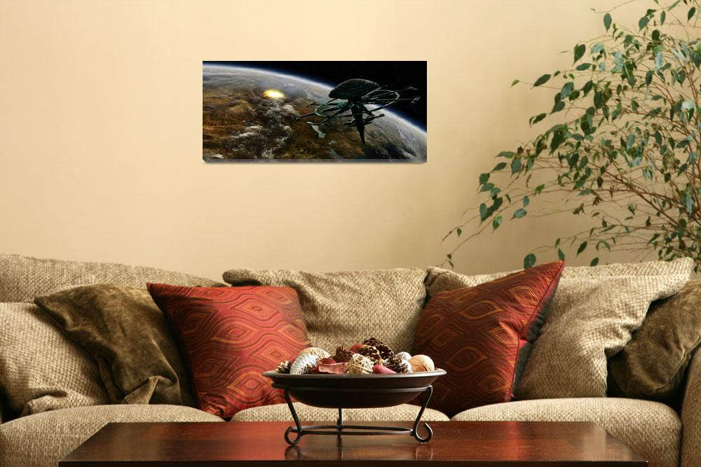 """""""A space station orbits a terrestrial planet that h""""  by stocktrekimages"""