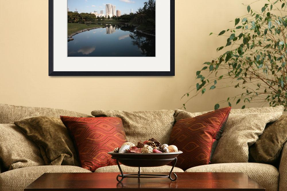 """""""Japanese Highrises with Garden Pond&quot  (2009) by Groecar"""