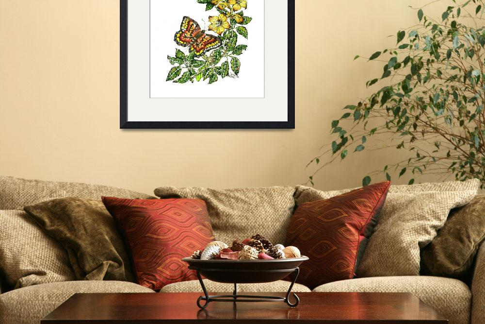 """""""Watercolor - Ink Painting Print - Birds and Flower&quot  (2012) by DonnaMariesArt"""