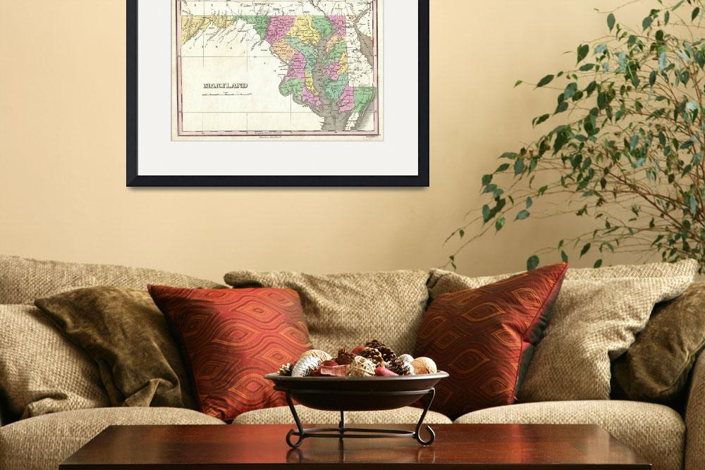 """Vintage Map of Maryland (1827)&quot  by Alleycatshirts"