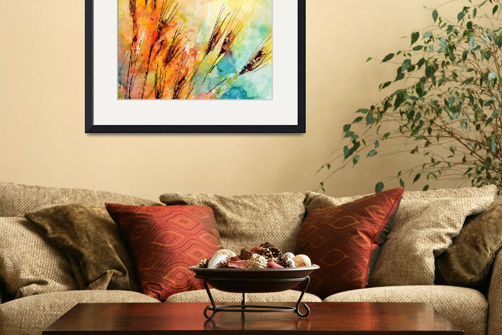 """Harvest Sun and Rye Modern Watercolor by Ginette&quot  (2014) by GinetteCallaway"