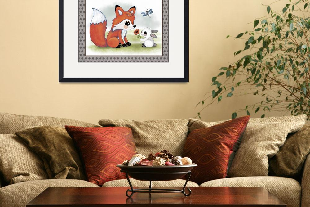 """Fox and Bunny - Woodland Animal Tales Nursery Art&quot  (2016) by Littlepig"