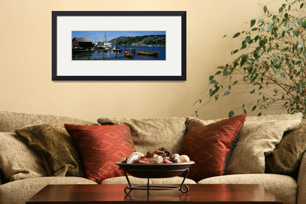 """""""View of harbor with fishing vessel&quot  by Panoramic_Images"""