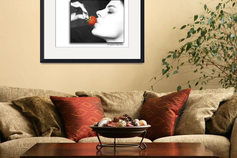 """""""women kissing a red strawberry&quot  (2010) by baechlergallery"""