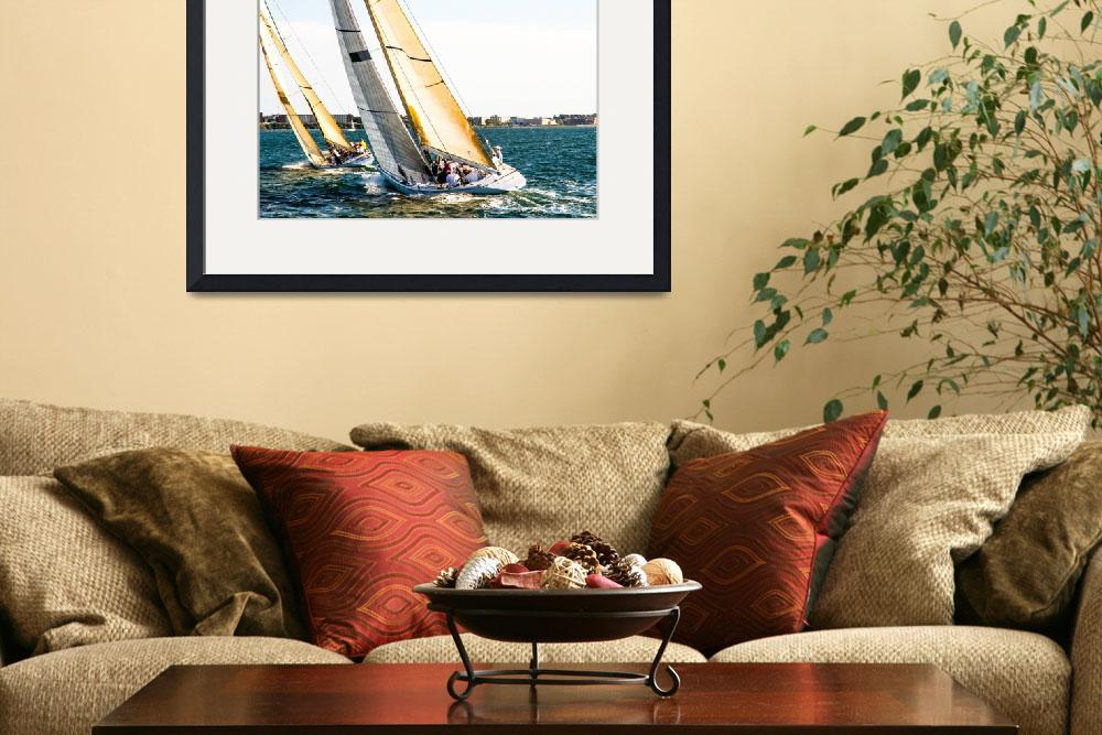 """Newport Harbor Golden Sails Racing-2832&quot  by pixelcene"