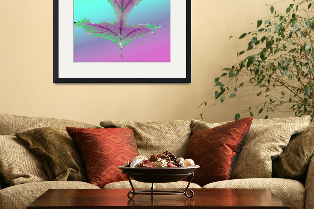 """""""Shocking Pink and Green Oak Leaf&quot  (2009) by RussMartinPhotography"""