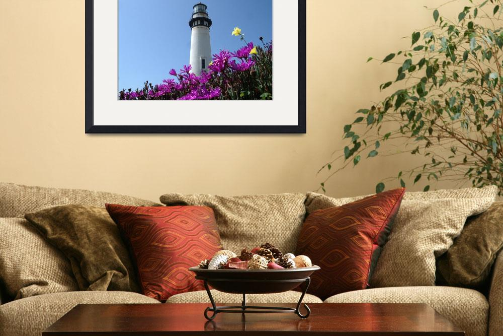 """""""Pigion Point Lighthouse Flowers&quot  (2004) by BobFikePhoto"""