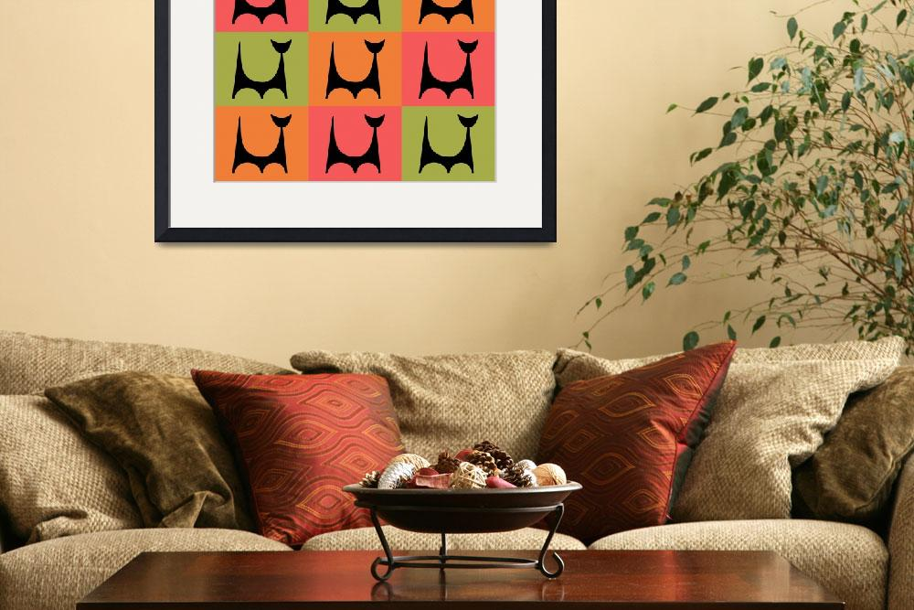 """""""Abstract Cat 2 pink orange green&quot  by DMibus"""