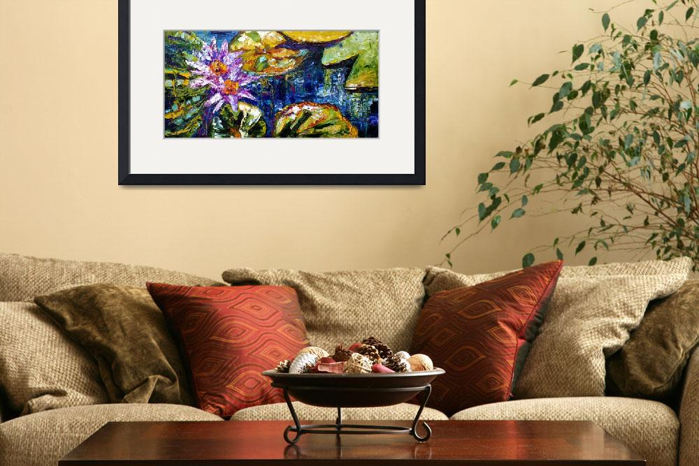 """""""Modern Impressionist Lily Pond Reflections&quot  (2017) by GinetteCallaway"""