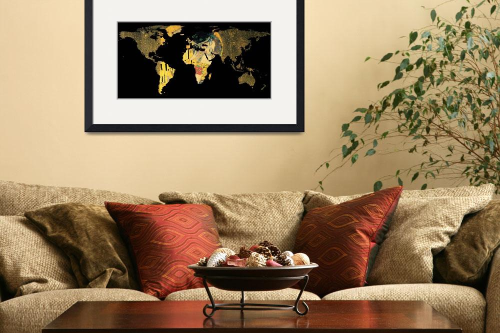 """""""World Map Silhouette - The Kiss Gustav Klimt&quot  by Alleycatshirts"""