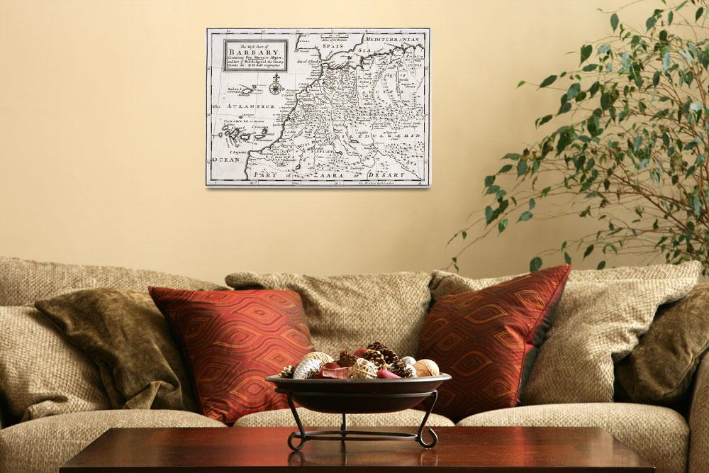 """""""Map of The West Part of Barbary&quot  by fineartmasters"""
