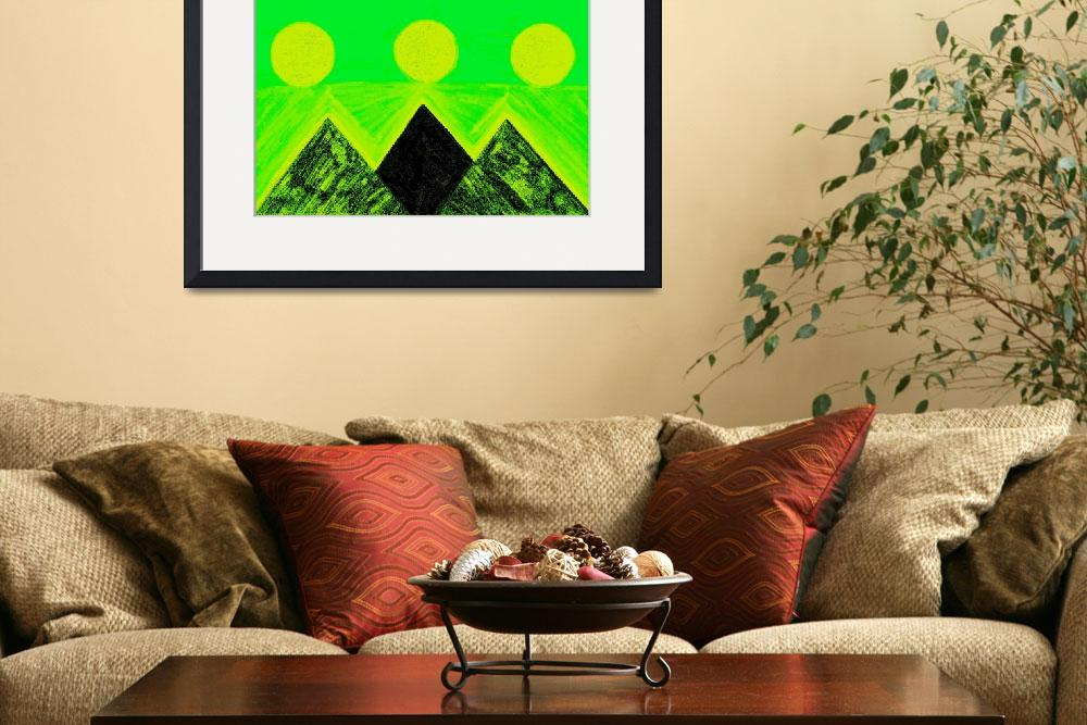 """""""Pyramids Of Other Worlds In Green and Yellow""""  by Atlantis-Seeker-Art"""