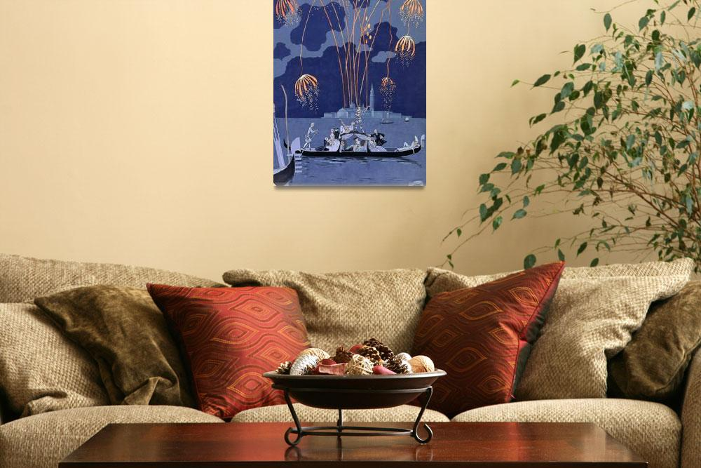 """""""Fireworks in Venice (pochoir print)&quot  by fineartmasters"""