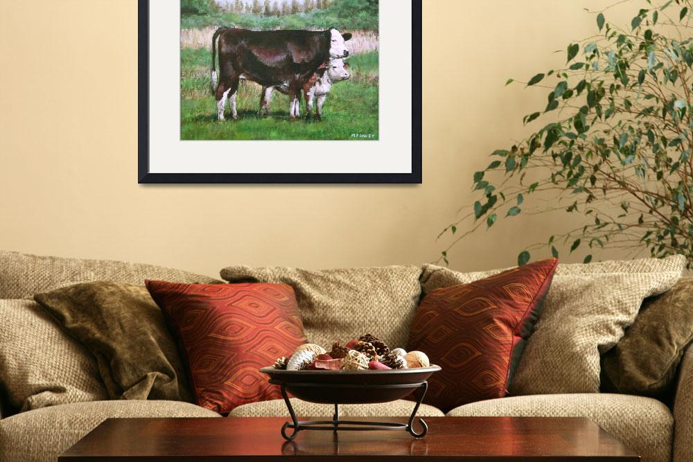 """""""cows in field_demo small painting""""  (2012) by martindavey"""