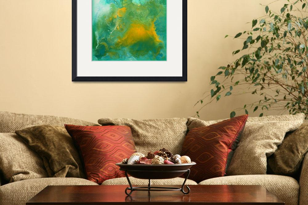 """""""Teal Fluid Abstract Painting""""  (2014) by LizMoran"""