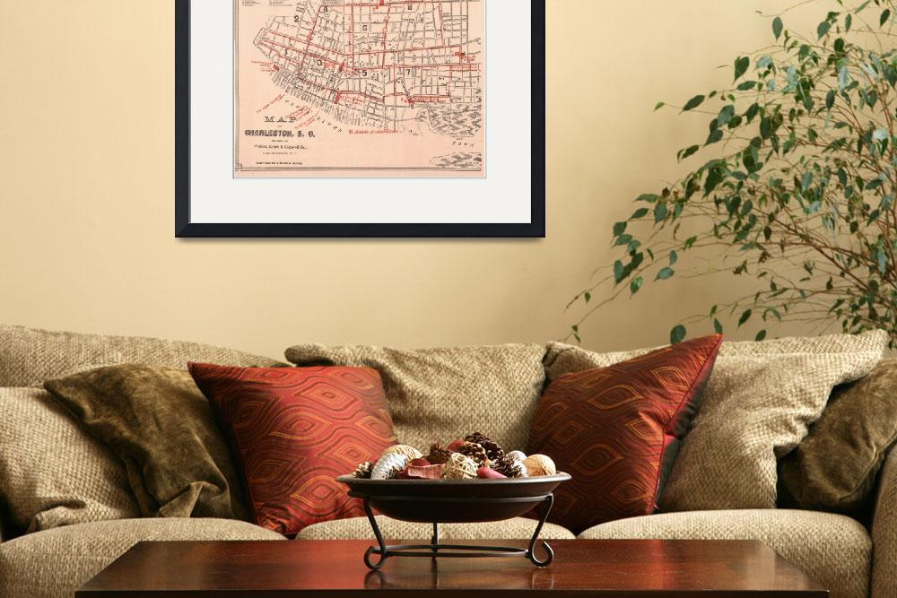 """""""Vintage Map of Charleston South Carolina (1890)&quot  by Alleycatshirts"""