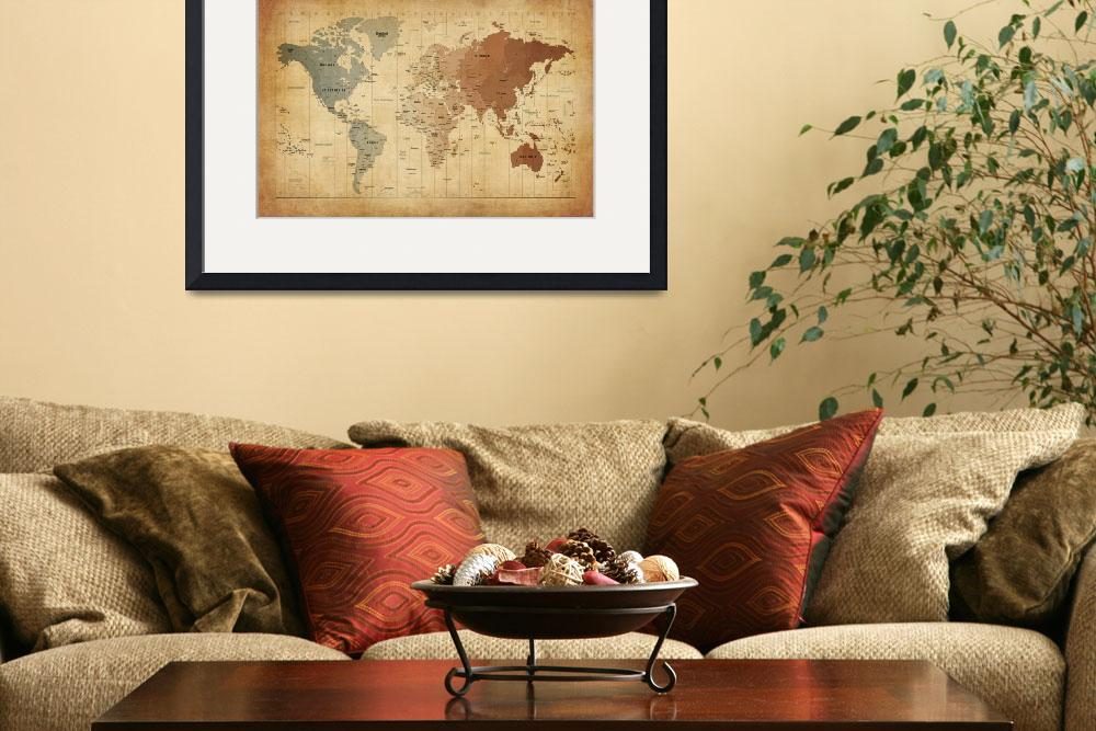 """""""Time Zones Map of the World&quot  (2012) by ModernArtPrints"""