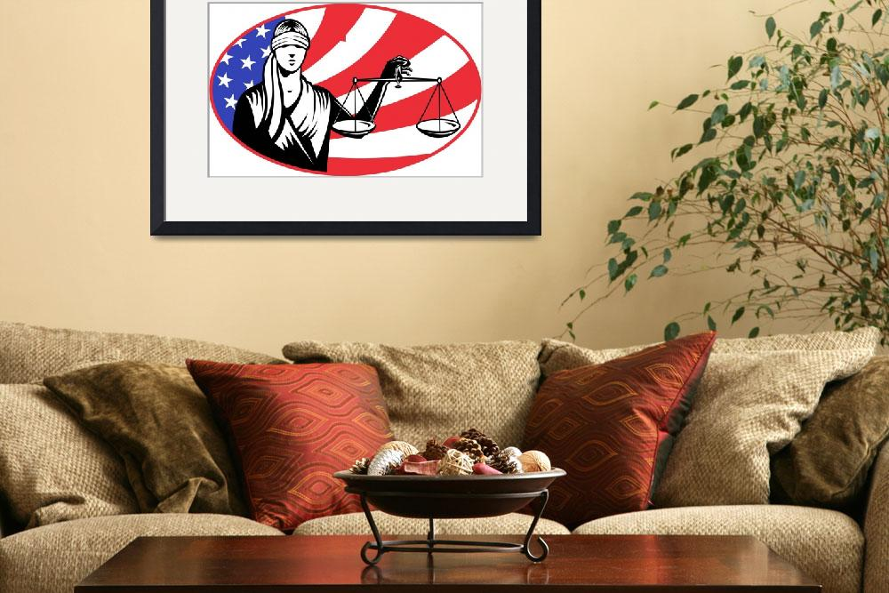 """""""lady blindfold scales of justice american flag&quot  (2013) by patrimonio"""