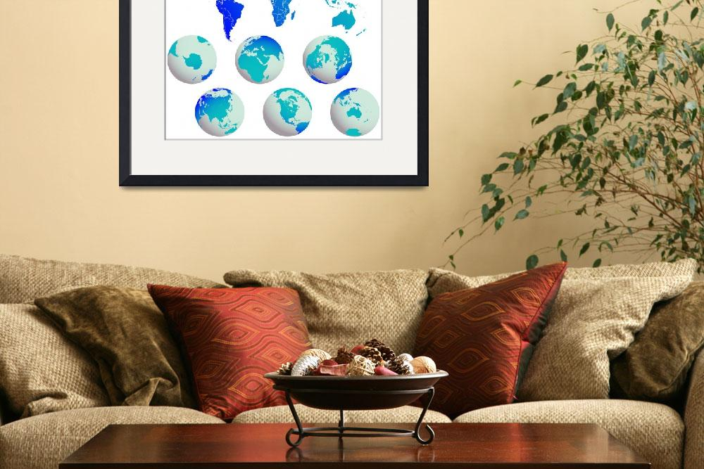 """world map and earth globes&quot  by robertosch"