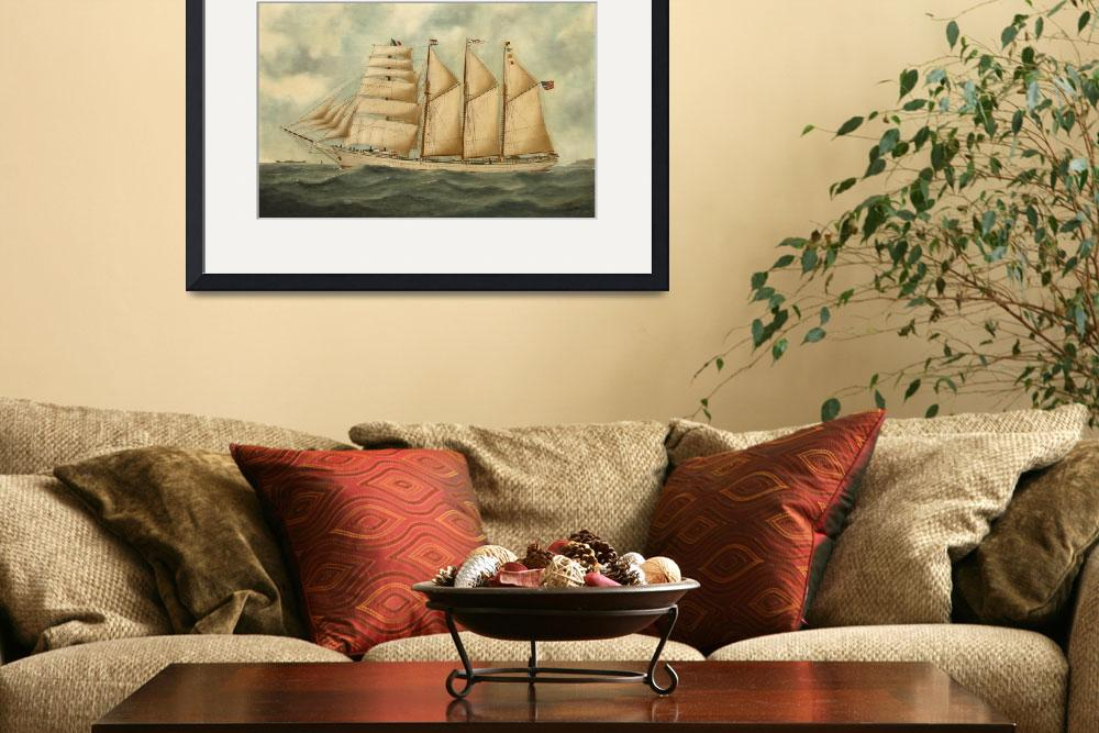 """Vintage Illustration of a Large Sailing Yacht (191&quot  by Alleycatshirts"
