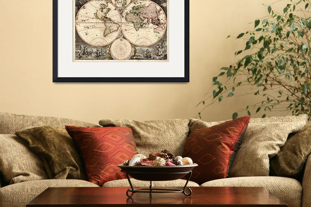 """""""Vintage Map of The World (1690)&quot  by Alleycatshirts"""