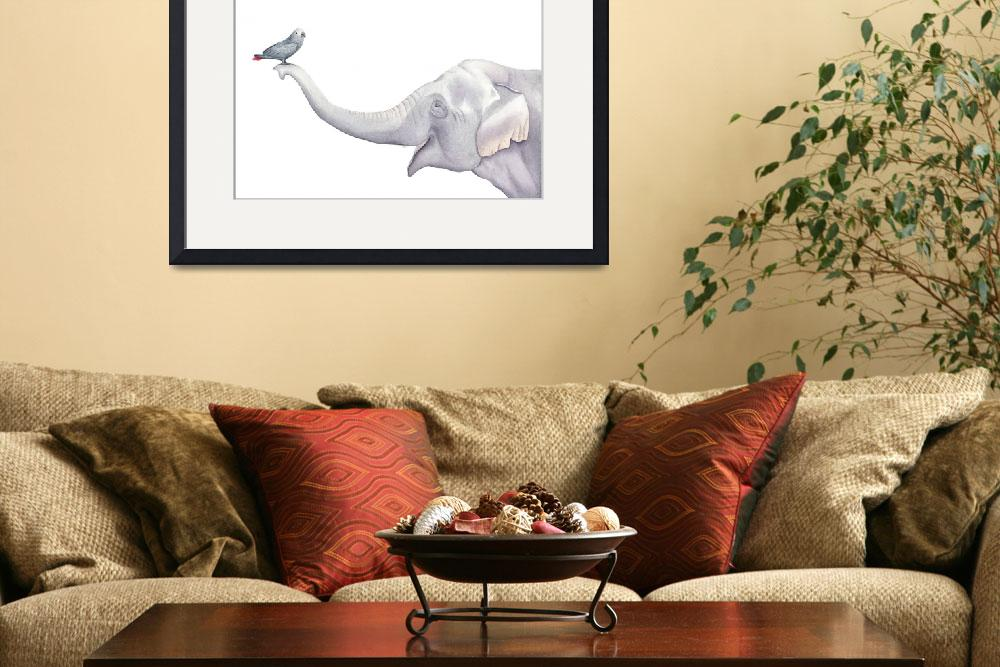 """Elephant and Bird Watercolor&quot  (2018) by taylansoyturk"