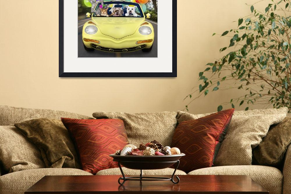 """""""Cats and dogs driving fast in convertible car&quot  (2009) by StephanieDRoeser"""
